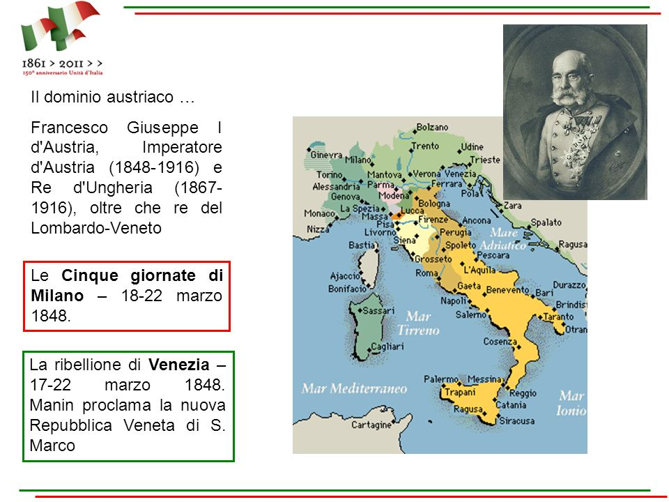 Le Cinque giornate di Milano – 18-22 marzo 1848. La ribellione di Venezia – 17-22 marzo 1848. Manin proclama la nuova Repubblica Veneta di S. Marco Il