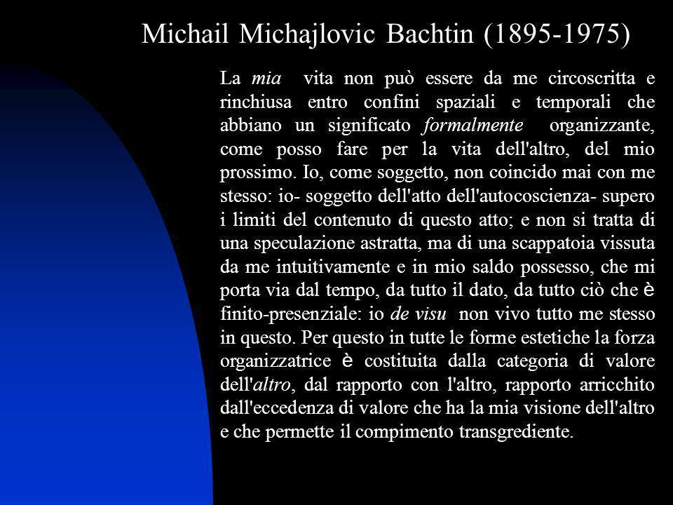 Michail Michajlovic Bachtin (1895-1975) La mia vita non può essere da me circoscritta e rinchiusa entro confini spaziali e temporali che abbiano un si