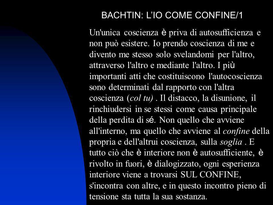 BACHTIN: LIO COME CONFINE/1 Un'unica coscienza è priva di autosufficienza e non può esistere. Io prendo coscienza di me e divento me stesso solo svela