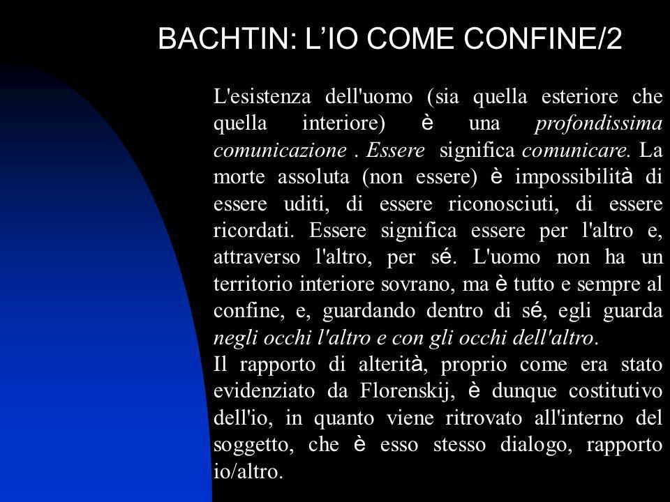 BACHTIN: LIO COME CONFINE/2 L'esistenza dell'uomo (sia quella esteriore che quella interiore) è una profondissima comunicazione. Essere significa comu