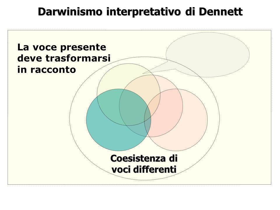 Darwinismo interpretativo di Dennett La voce presente deve trasformarsi in racconto Coesistenza di voci differenti