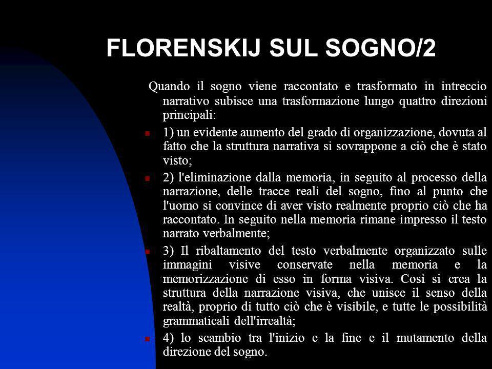 FLORENSKIJ SUL SOGNO/2 Quando il sogno viene raccontato e trasformato in intreccio narrativo subisce una trasformazione lungo quattro direzioni princi
