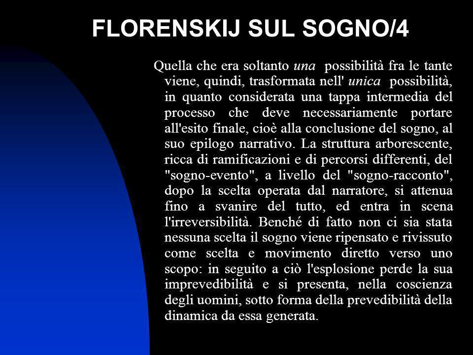 FLORENSKIJ SUL SOGNO/4 Quella che era soltanto una possibilità fra le tante viene, quindi, trasformata nell' unica possibilità, in quanto considerata