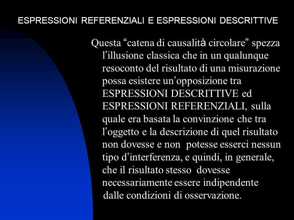 ESPRESSIONI REFERENZIALI E ESPRESSIONI DESCRITTIVE Questa catena di causalit à circolare spezza l illusione classica che in un qualunque resoconto del