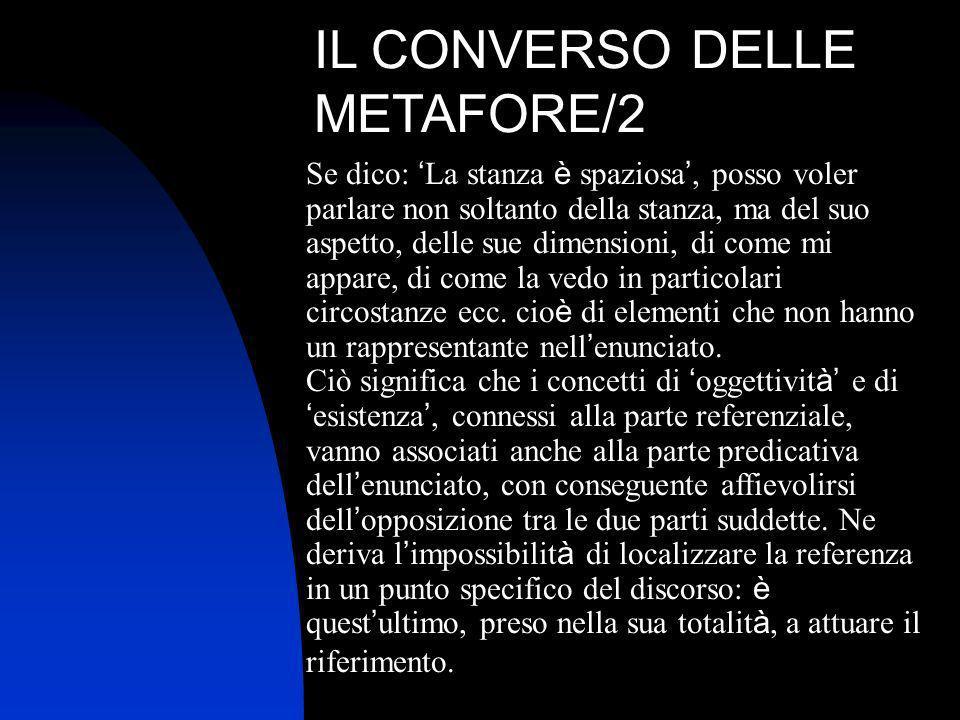IL CONVERSO DELLE METAFORE/2 Se dico: La stanza è spaziosa, posso voler parlare non soltanto della stanza, ma del suo aspetto, delle sue dimensioni, d