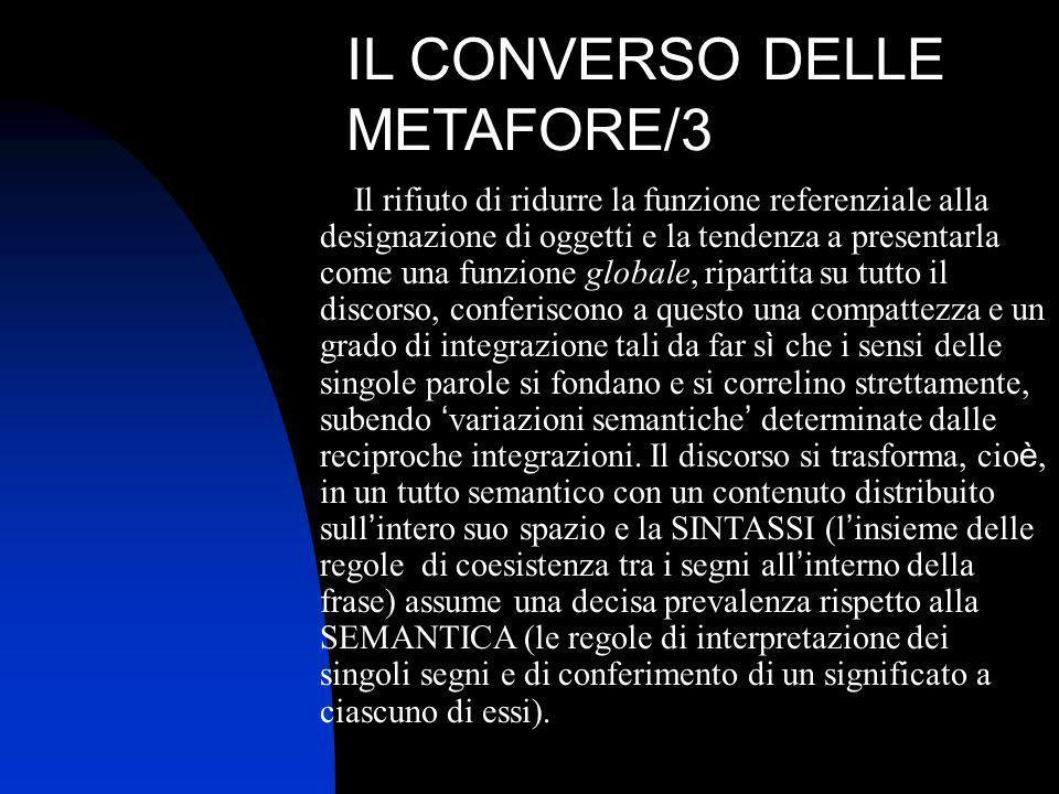 IL CONVERSO DELLE METAFORE/3 Il rifiuto di ridurre la funzione referenziale alla designazione di oggetti e la tendenza a presentarla come una funzione