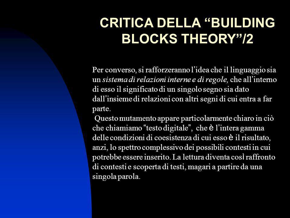 CRITICA DELLA BUILDING BLOCKS THEORY/2 Per converso, si rafforzeranno l idea che il linguaggio sia un sistema di relazioni interne e di regole, che al