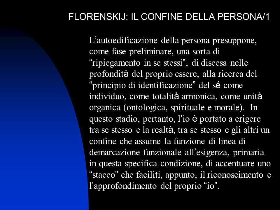 FLORENSKIJ: IL CONFINE DELLA PERSONA/1 L autoedificazione della persona presuppone, come fase preliminare, una sorta di ripiegamento in se stessi, di