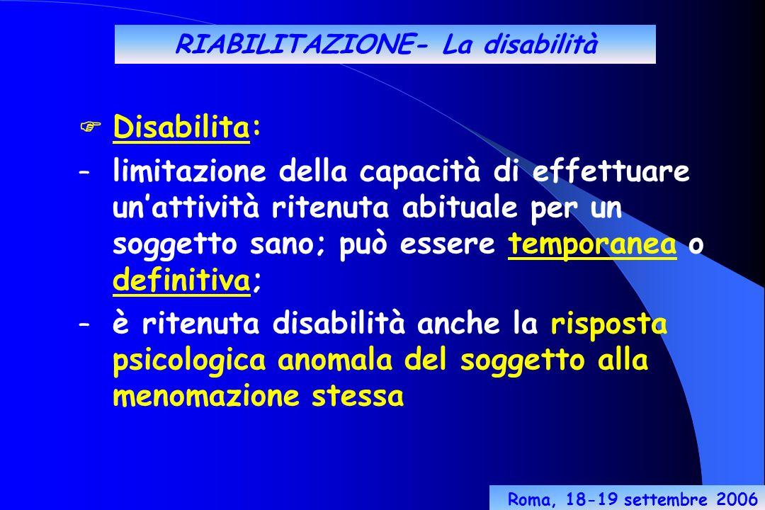 RIABILITAZIONE- La disabilità Disabilita: – limitazione della capacità di effettuare unattività ritenuta abituale per un soggetto sano; può essere temporanea o definitiva; – è ritenuta disabilità anche la risposta psicologica anomala del soggetto alla menomazione stessa Roma, 18-19 settembre 2006