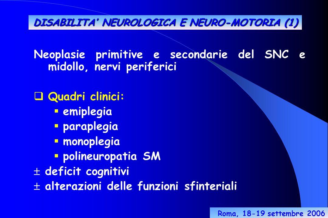 Neoplasie primitive e secondarie del SNC e midollo, nervi periferici Quadri clinici: emiplegia paraplegia monoplegia polineuropatia SM deficit cognitivi alterazioni delle funzioni sfinteriali DISABILITA NEUROLOGICA E NEURO-MOTORIA (1) Roma, 18-19 settembre 2006