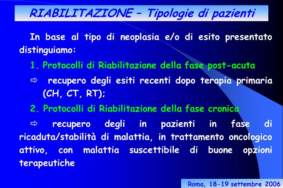 RIABILITAZIONE – Tipologie di pazienti In base al tipo di neoplasia e/o di esito presentato distinguiamo: 1.Protocolli di Riabilitazione della fase post-acuta recupero degli esiti recenti dopo terapia primaria (CH, CT, RT); 2.