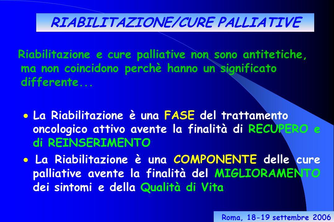 RIABILITAZIONE/CURE PALLIATIVE Riabilitazione e cure palliative non sono antitetiche, ma non coincidono perchè hanno un significato differente...