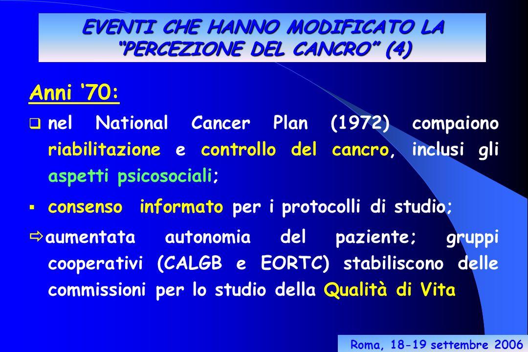 EVENTI CHE HANNO MODIFICATO LA PERCEZIONE DEL CANCRO (4) Anni 70: nel National Cancer Plan (1972) compaiono riabilitazione e controllo del cancro, inclusi gli aspetti psicosociali; consenso informato per i protocolli di studio; aumentata autonomia del paziente; gruppi cooperativi (CALGB e EORTC) stabiliscono delle commissioni per lo studio della Qualità di Vita Roma, 18-19 settembre 2006