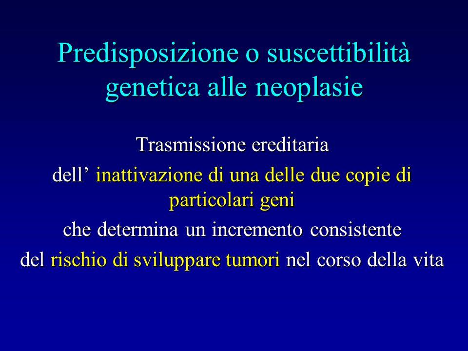 Predisposizione o suscettibilità genetica alle neoplasie Trasmissione ereditaria dell inattivazione di una delle due copie di particolari geni che det