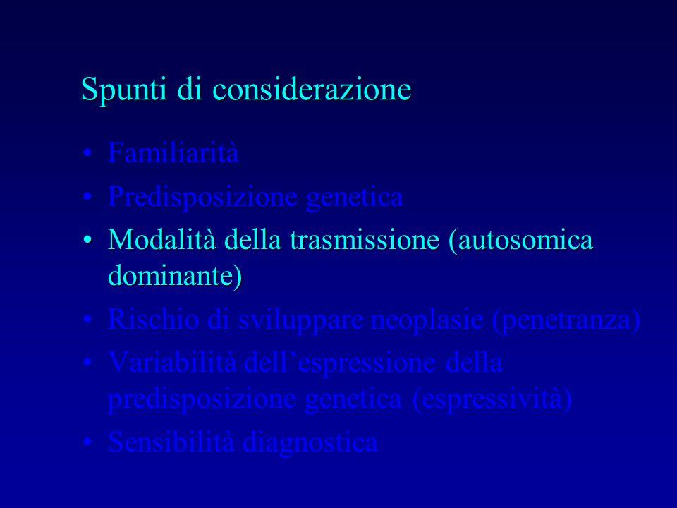 Familiarità Predisposizione genetica Modalità della trasmissione (autosomica dominante)Modalità della trasmissione (autosomica dominante) Rischio di s