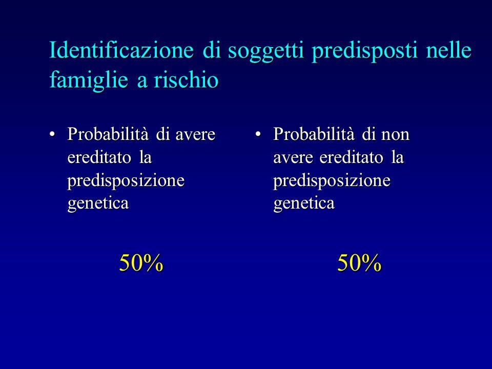 Identificazione di soggetti predisposti nelle famiglie a rischio Probabilità di avere ereditato la predisposizione geneticaProbabilità di avere eredit