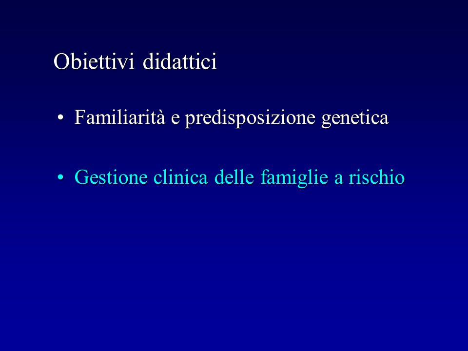 Obiettivi didattici Familiarità e predisposizione geneticaFamiliarità e predisposizione genetica Gestione clinica delle famiglie a rischioGestione cli
