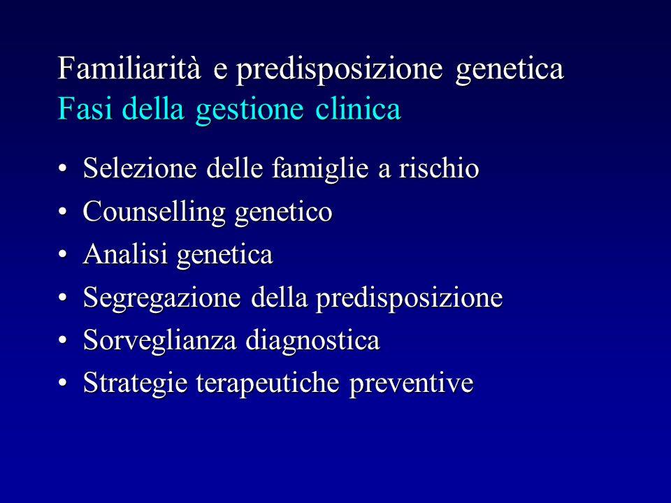 Familiarità e predisposizione genetica Fasi della gestione clinica Selezione delle famiglie a rischioSelezione delle famiglie a rischio Counselling ge