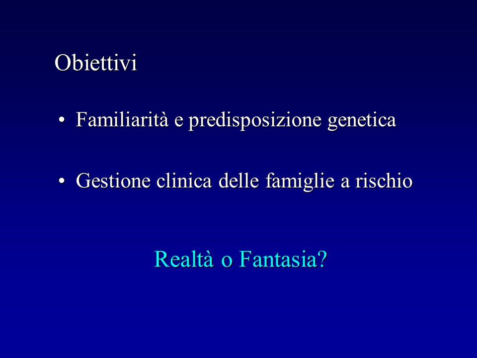 Obiettivi Familiarità e predisposizione geneticaFamiliarità e predisposizione genetica Gestione clinica delle famiglie a rischioGestione clinica delle