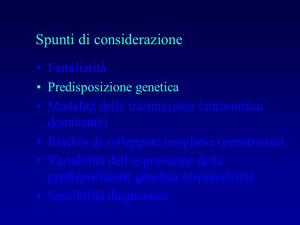 Familiarità Predisposizione geneticaPredisposizione genetica Modalità della trasmissione (autosomica dominante) Rischio di sviluppare neoplasie (penet
