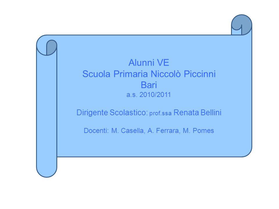 Alunni VE Scuola Primaria Niccolò Piccinni Bari a.s. 2010/2011 Dirigente Scolastico: prof.ssa Renata Bellini Docenti: M. Casella, A. Ferrara, M. Pomes