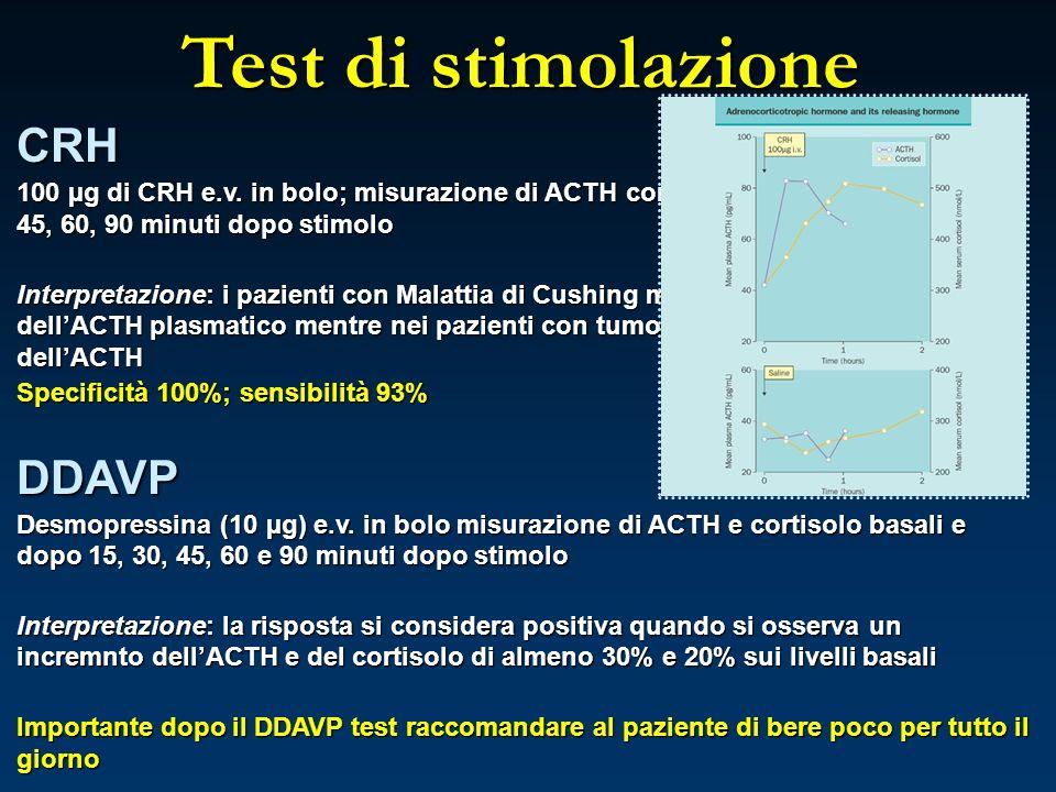 Test di stimolazione CRH 100 µg di CRH e.v. in bolo; misurazione di ACTH cortisolo basali e dopo 15, 30, 45, 60, 90 minuti dopo stimolo Interpretazion