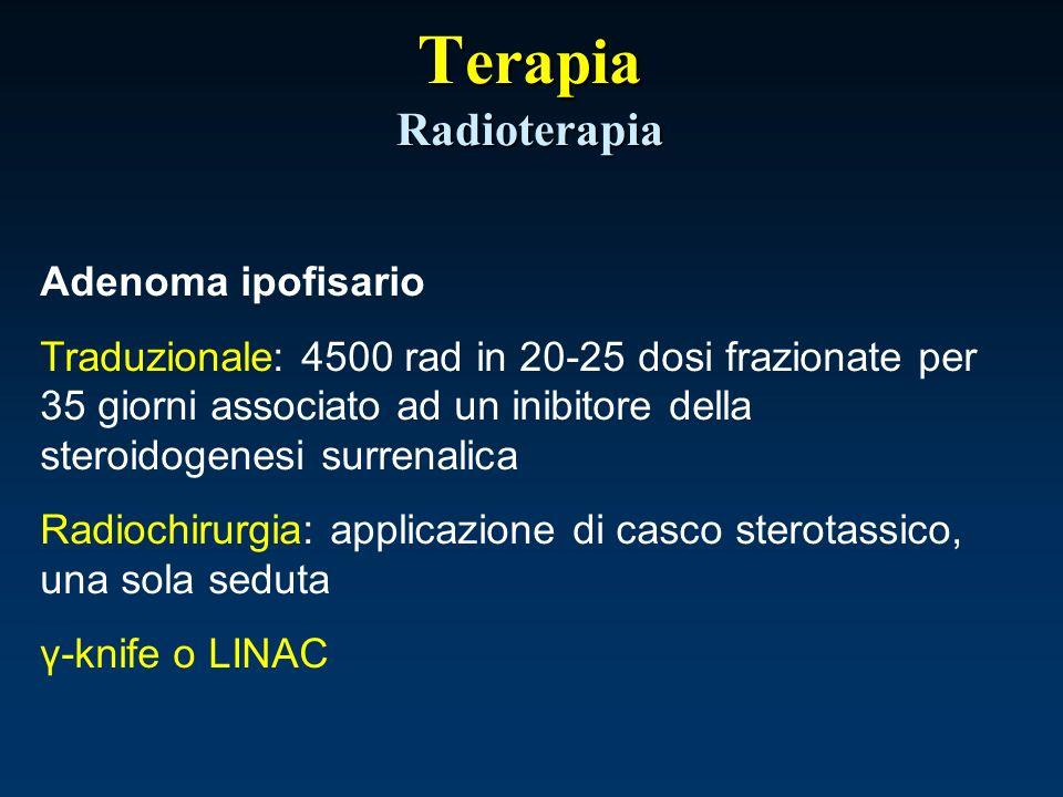 Adenoma ipofisario Traduzionale: 4500 rad in 20-25 dosi frazionate per 35 giorni associato ad un inibitore della steroidogenesi surrenalica Radiochiru