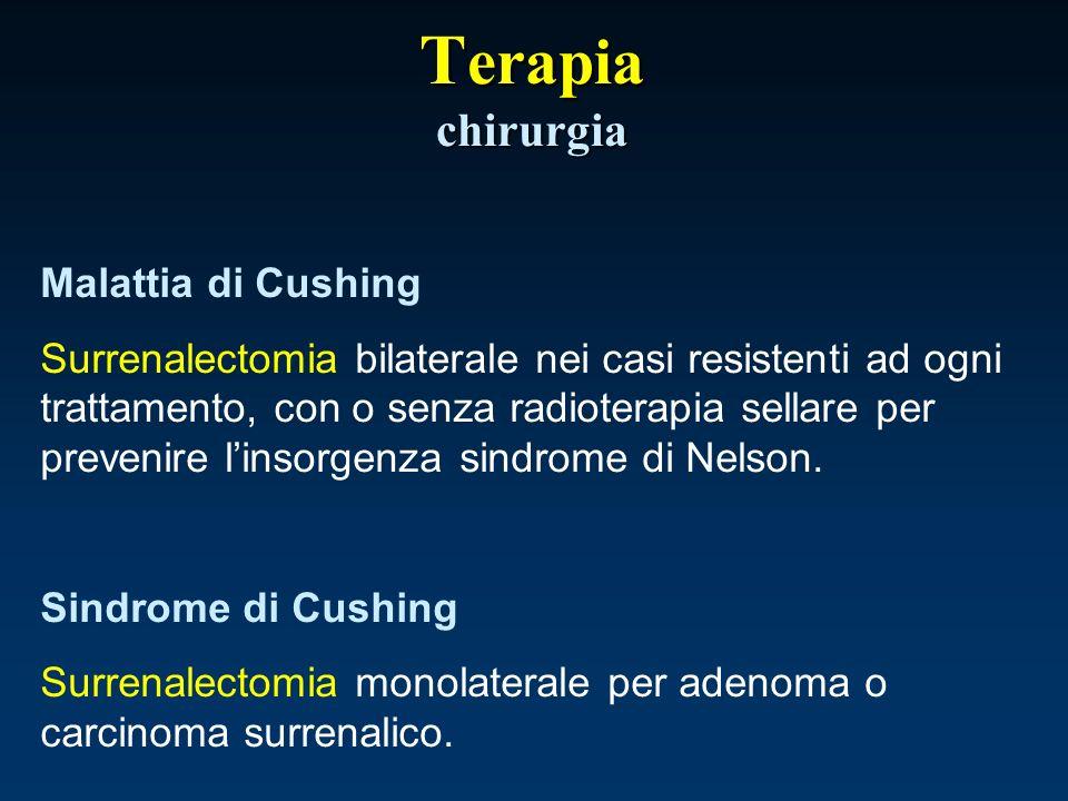 T erapia chirurgia Malattia di Cushing Surrenalectomia bilaterale nei casi resistenti ad ogni trattamento, con o senza radioterapia sellare per preven