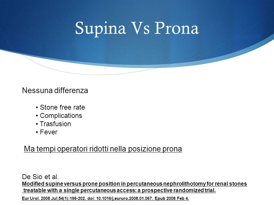 Supina Vs Prona Nessuna differenza Stone free rate Complications Trasfusion Fever Ma tempi operatori ridotti nella posizione prona Modified supine ver