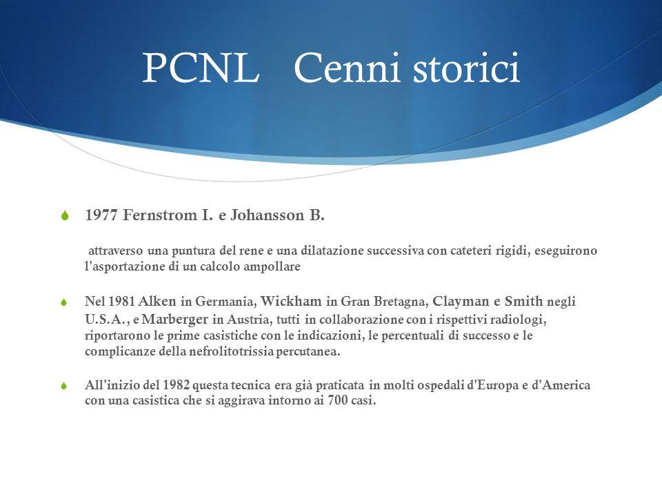 PCNL Cenni storici 1977 Fernstrom I. e Johansson B. attraverso una puntura del rene e una dilatazione successiva con cateteri rigidi, eseguirono l'asp