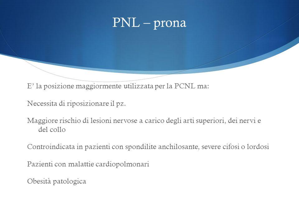 PNL – prona E la posizione maggiormente utilizzata per la PCNL ma: Necessita di riposizionare il pz. Maggiore rischio di lesioni nervose a carico degl