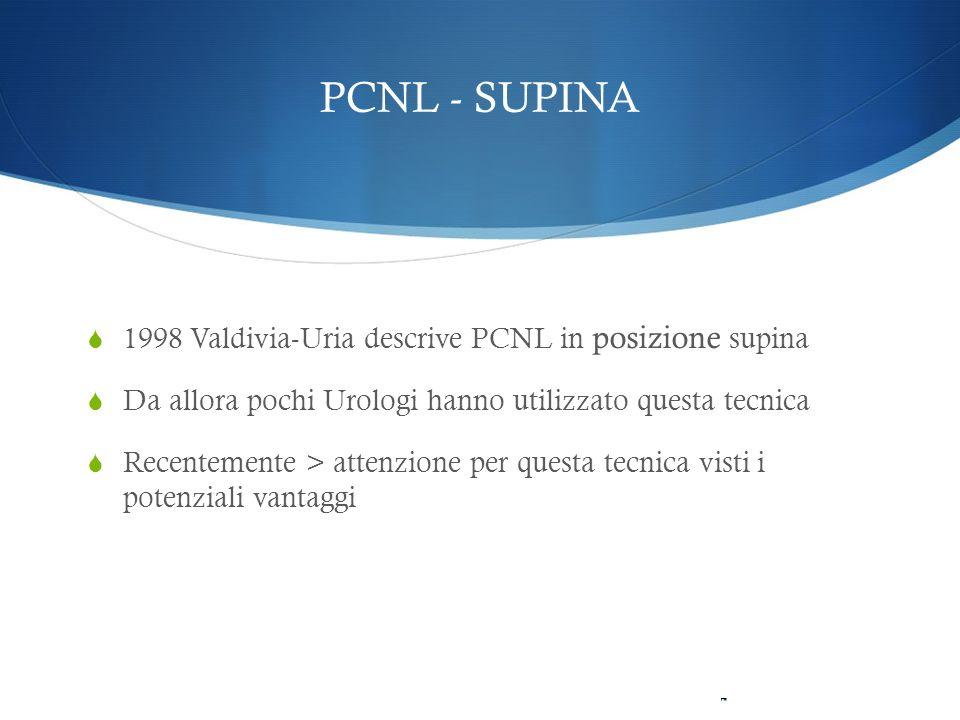 PCNL - SUPINA 1998 Valdivia-Uria descrive PCNL in posizione supina Da allora pochi Urologi hanno utilizzato questa tecnica Recentemente > attenzione p