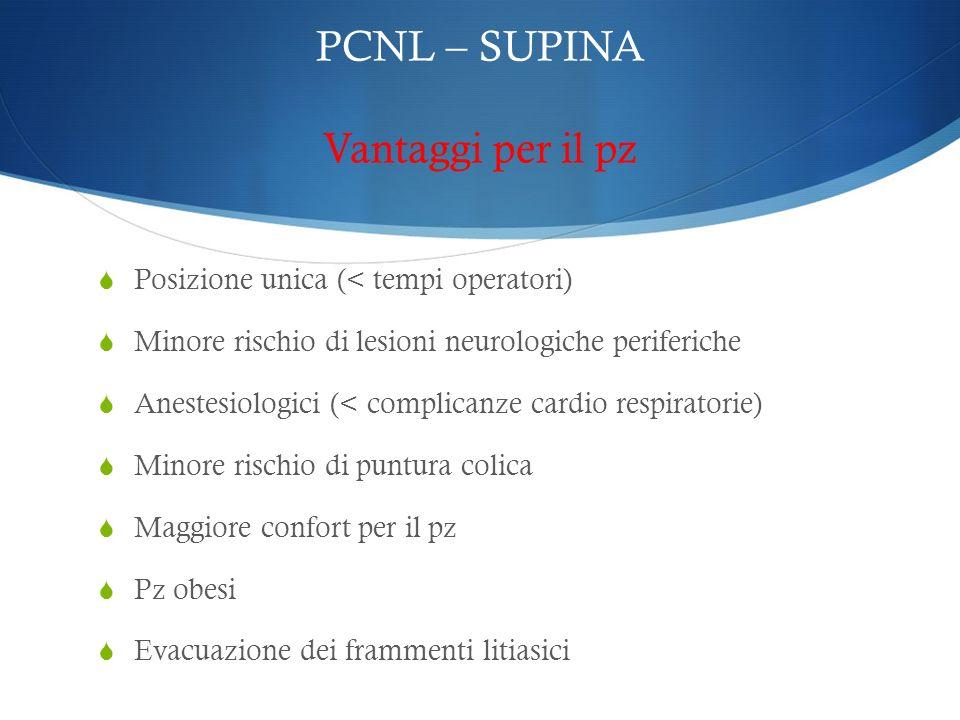 PCNL – SUPINA Vantaggi per il pz Posizione unica (< tempi operatori) Minore rischio di lesioni neurologiche periferiche Anestesiologici (< complicanze
