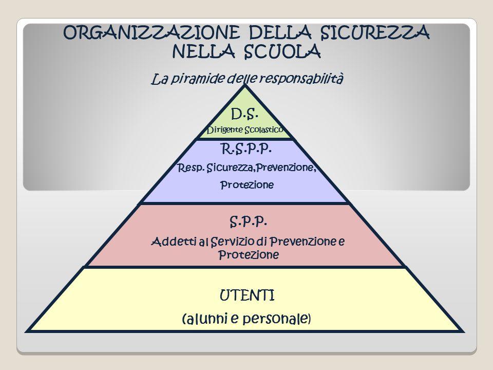 La piramide delle responsabilità R.S.P.P. Resp. Sicurezza,Prevenzione, Protezione S.P.P. Addetti al Servizio di Prevenzione e Protezione UTENTI (alunn