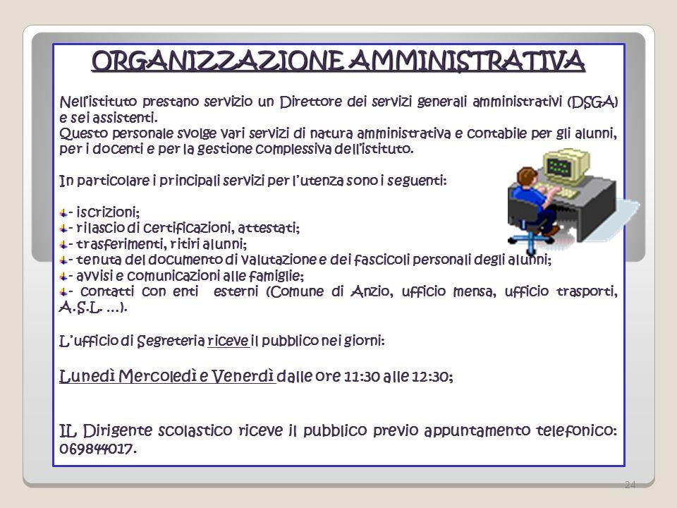 ORGANIZZAZIONE AMMINISTRATIVA Nellistituto prestano servizio un Direttore dei servizi generali amministrativi (DSGA) e sei assistenti. Questo personal