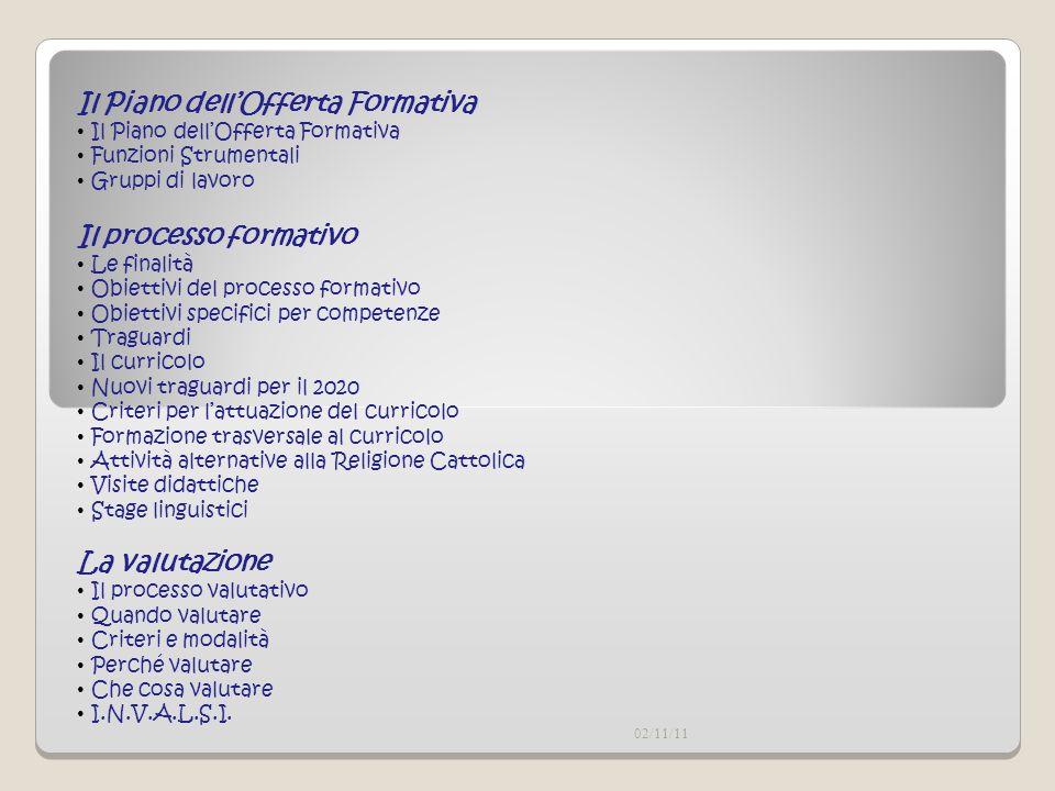 02/11/11 Il processo formativo Le finalità Obiettivi del processo formativo Obiettivi specifici per competenze Traguardi Il curricolo Nuovi traguardi