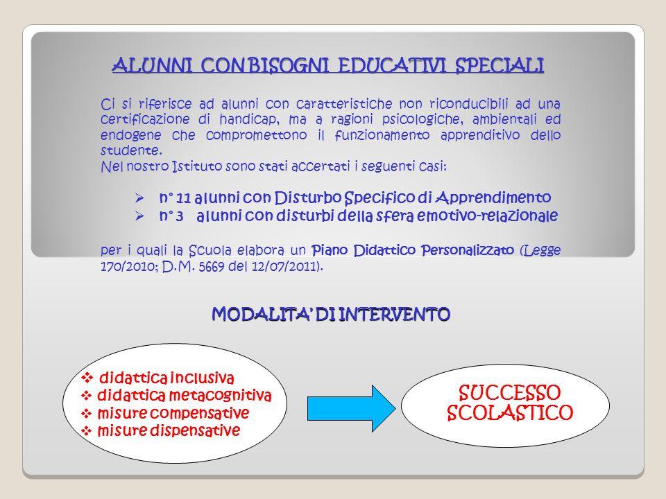 ALUNNI CON BISOGNI EDUCATIVI SPECIALI Ci si riferisce ad alunni con caratteristiche non riconducibili ad una certificazione di handicap, ma a ragioni