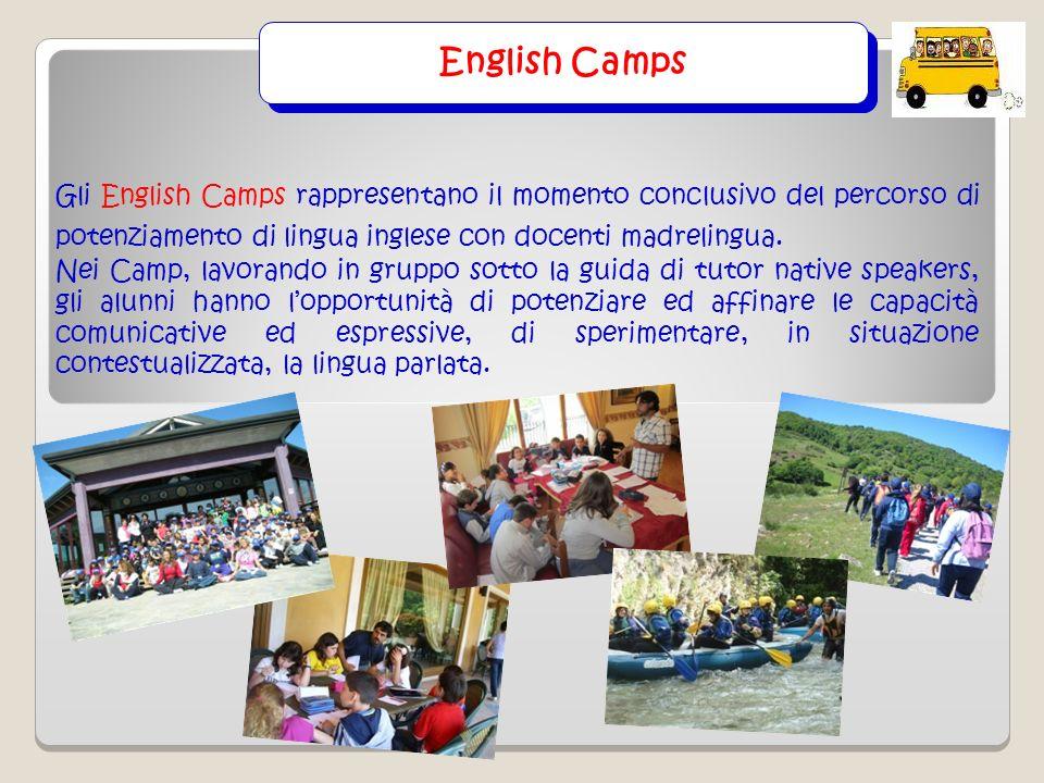 English Camps Gli English Camps rappresentano il momento conclusivo del percorso di potenziamento di lingua inglese con docenti madrelingua. Nei Camp,