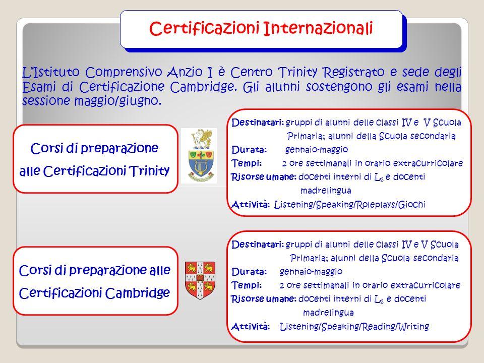 Corsi di preparazione alle Certificazioni Cambridge Destinatari: gruppi di alunni delle classi IV e V Scuola Primaria; alunni della Scuola secondaria