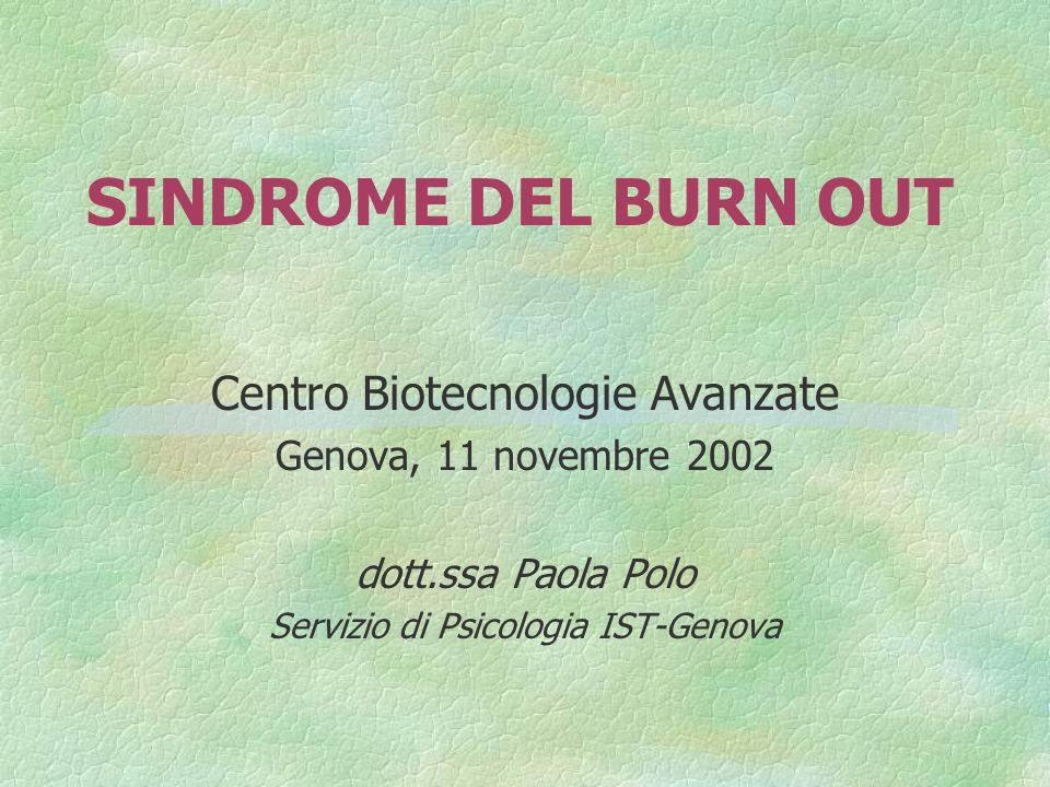 SINDROME DEL BURN OUT Centro Biotecnologie Avanzate Genova, 11 novembre 2002 dott.ssa Paola Polo Servizio di Psicologia IST-Genova