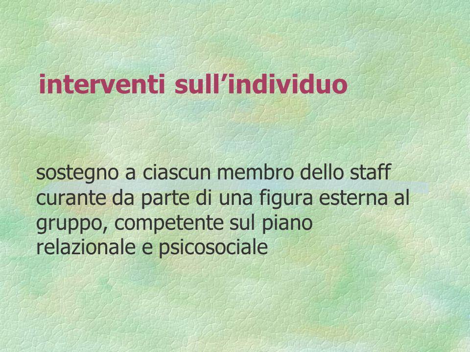 interventi sullindividuo sostegno a ciascun membro dello staff curante da parte di una figura esterna al gruppo, competente sul piano relazionale e ps