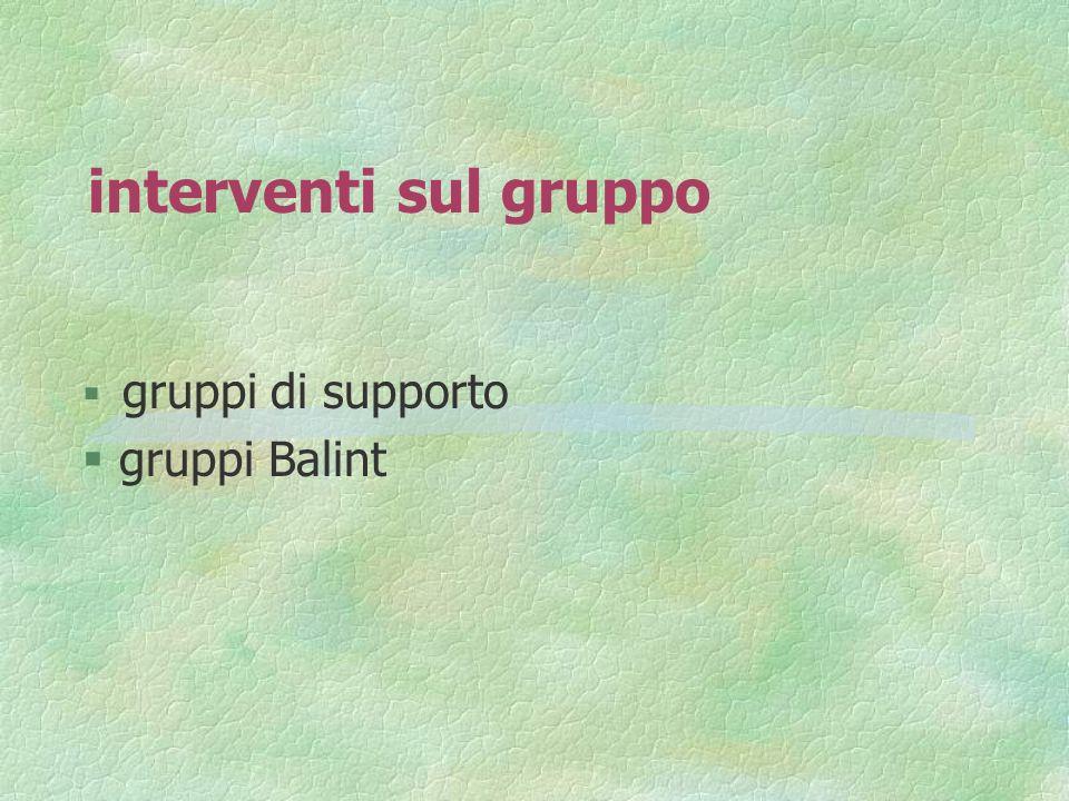 interventi sul gruppo gruppi di supporto § gruppi Balint