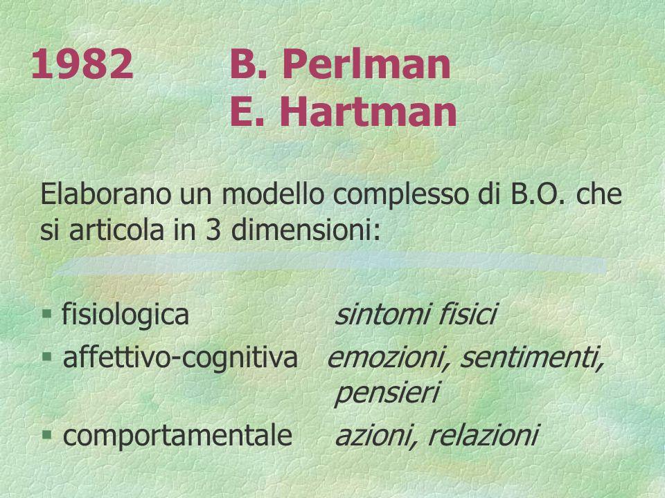 1982B. Perlman E. Hartman Elaborano un modello complesso di B.O. che si articola in 3 dimensioni: fisiologica sintomi fisici § affettivo-cognitiva emo