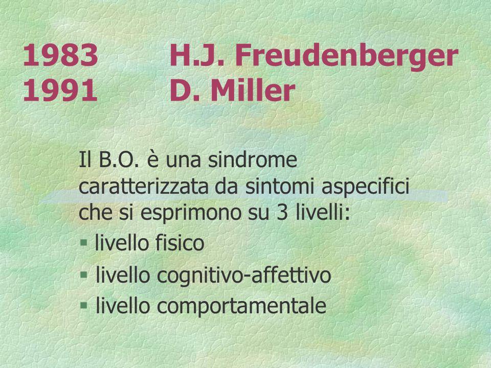 1983H.J. Freudenberger 1991D. Miller Il B.O. è una sindrome caratterizzata da sintomi aspecifici che si esprimono su 3 livelli: livello fisico § livel