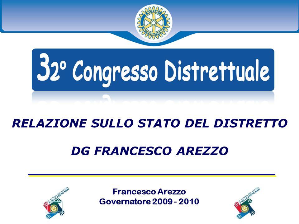 Francesco Arezzo di Trifiletti Governatore 2009 - 2010 RELAZIONE SULLO STATO DEL DISTRETTO DG FRANCESCO AREZZO _____________________________________ _____________________________________ Francesco Arezzo Governatore 2009 - 2010