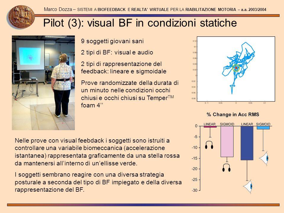 Pilot (3): visual BF in condizioni statiche Marco Dozza – SISTEMI A BIOFEEDBACK E REALTA VIRTUALE PER LA RIABILITAZIONE MOTORIA – a.a. 2003/2004 9 sog