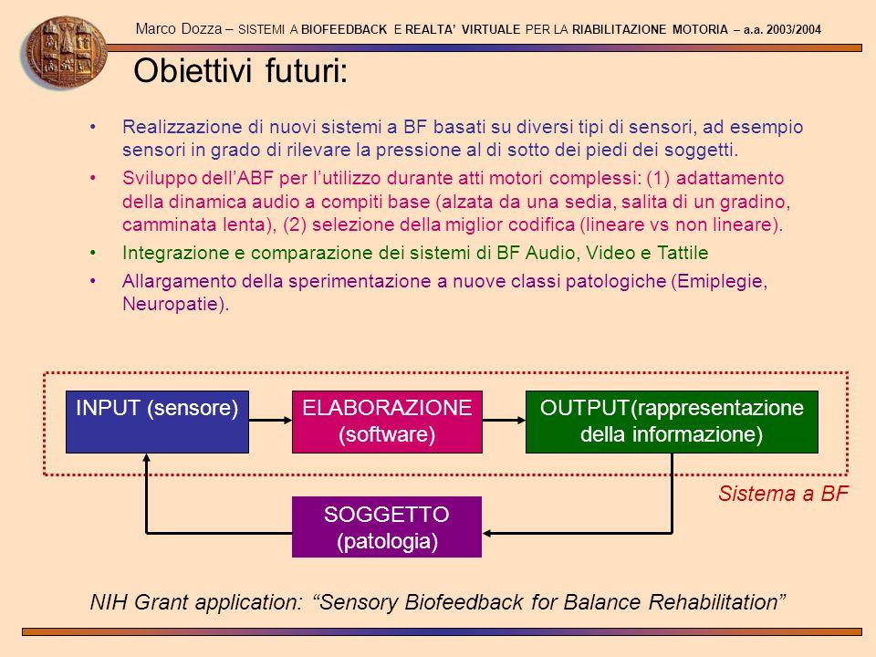 Obiettivi futuri: Marco Dozza – SISTEMI A BIOFEEDBACK E REALTA VIRTUALE PER LA RIABILITAZIONE MOTORIA – a.a. 2003/2004 Realizzazione di nuovi sistemi