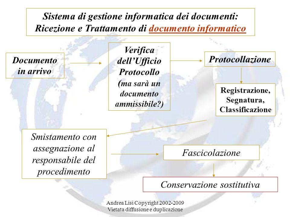 Andrea Lisi Copyright 2002-2009 Vietata diffusione e duplicazione Sistema di gestione informatica dei documenti: Ricezione e Trattamento di documento