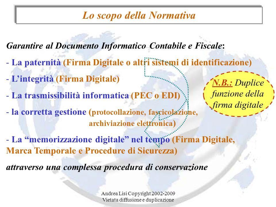 Andrea Lisi Copyright 2002-2009 Vietata diffusione e duplicazione Lo scopo della Normativa Garantire al Documento Informatico Contabile e Fiscale: - L