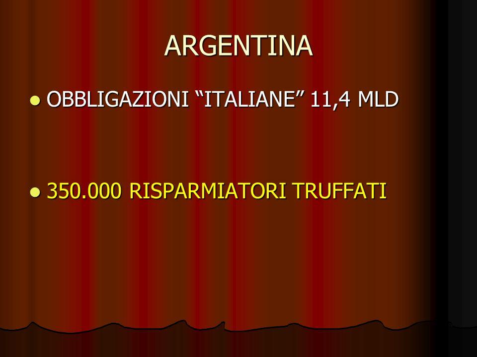 ARGENTINA OBBLIGAZIONI ITALIANE 11,4 MLD OBBLIGAZIONI ITALIANE 11,4 MLD 350.000 RISPARMIATORI TRUFFATI 350.000 RISPARMIATORI TRUFFATI